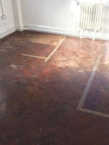wood floor sanding in London before