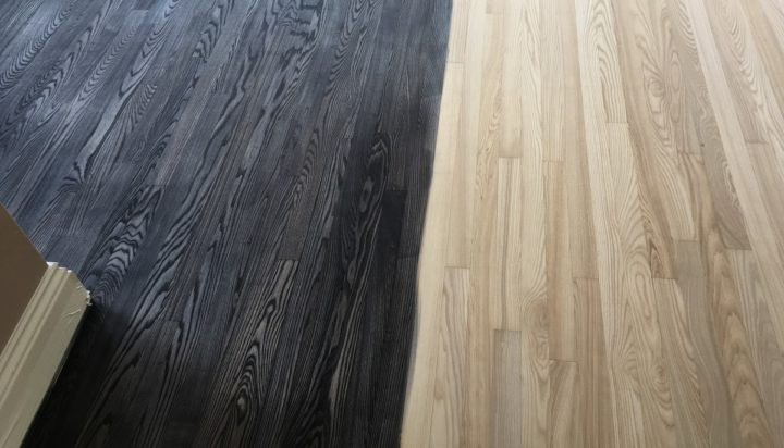 Dark stain on oak floor