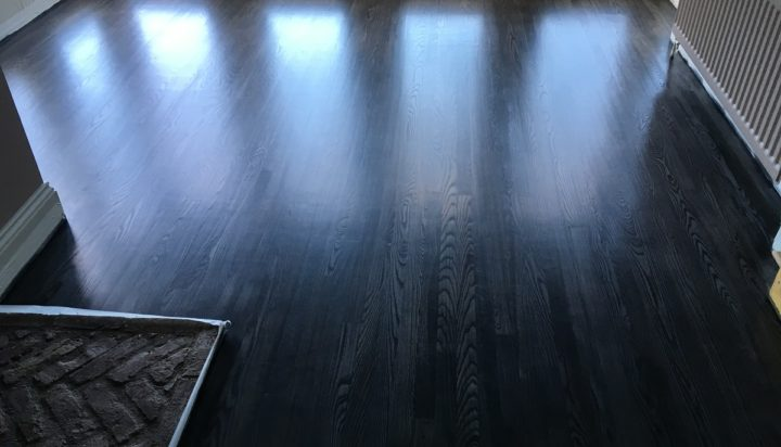 Oak floor after sanding and staining