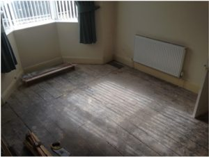 pine floor boards before sanding